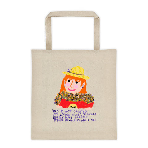 Funky Orange Hair Badass Anais Nin Quote Create Your Own World Empowering Magical Tote Bag