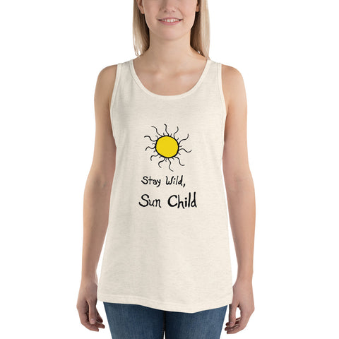 Stay Wild, Sun Child Boho Bohemian Unisex Jersey Sleeveless Tank Top