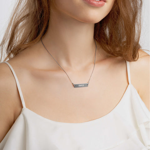 Your Theme: OWLS Engraved Silver Bar Chain Necklace