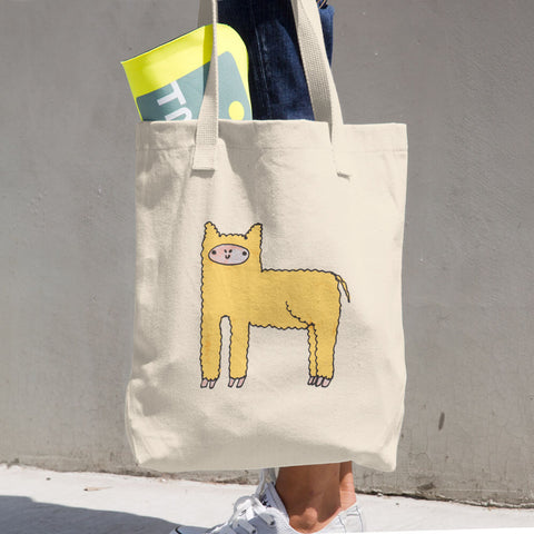 Yellow Cute Fluffy Alpaca Llama Cotton Tote Bag