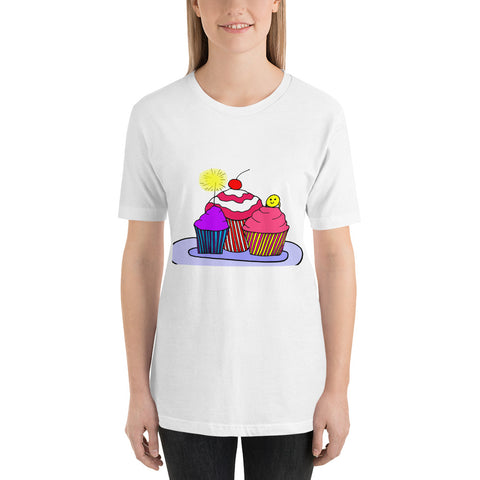 Trio of Cupcakes Sweet Whimsical Colorful Fun Dessert Short-Sleeve Unisex T-Shirt
