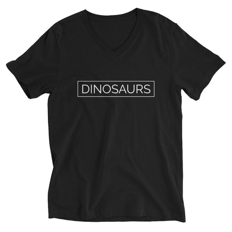 Your Theme: DINOSAURS Stylish Fun Black & White Unisex Short Sleeve V-Neck T-Shirt