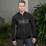Your Theme: OWLS Stylish Fun Black & White Bomber Jacket