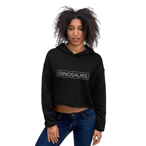 Your Theme: DINOSAURS Stylish Minimalist Fun Black & White Crop Hoodie