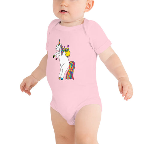 Whimsical Owl Riding Magical Unicorn Rainbow Baby Bodysuit One Piece Onesie Unisex Infant