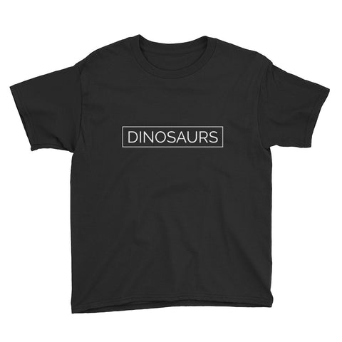 Your Theme: DINOSAURS Stylish Minimalist Fun Black & White Youth Childrens Kids Short Sleeve T-Shirt