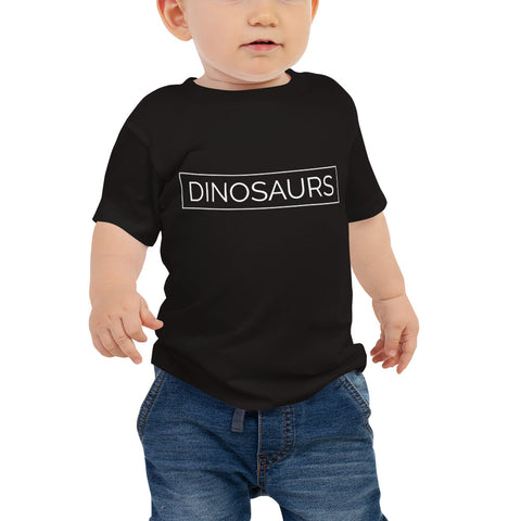 Your Theme: DINOSAURS Stylish Minimalist Fun Black & White Baby Jersey Short Sleeve Tee