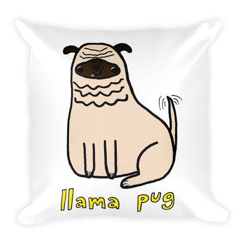 Llama Pug Alpaca Dog Cute Dogs Pugs Kawaii Adorable Pet Square Pillow