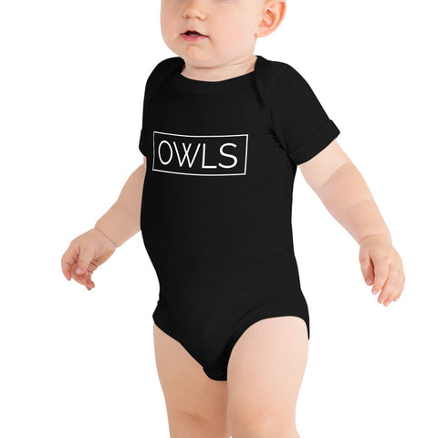 Your Theme: OWLS Stylish Fun Black & White Baby Infant One Piece Onesie Bodysuit