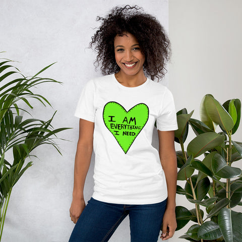 I Am Everything I Need Self Love Yourself Anti Valentines' Day Heart Short-Sleeve Unisex T-Shirt - Green Heart