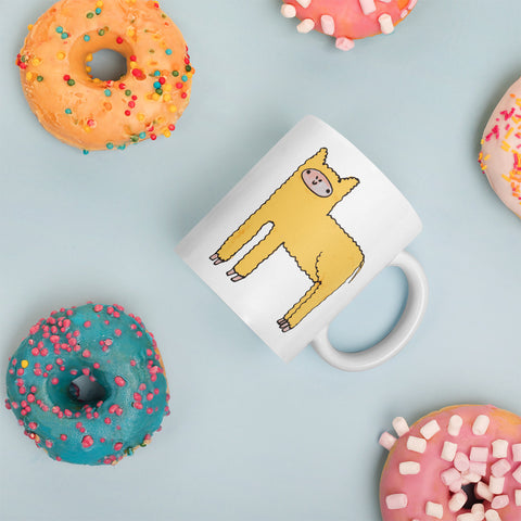 Yellow Cute Fluffy Alpaca Llama Ceramic Mug