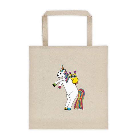 Whimsical Owl Riding Magical Unicorn Rainbow Tote Bag