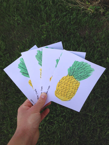 Hand-Painted Pineapple Note Cards - Set of 4