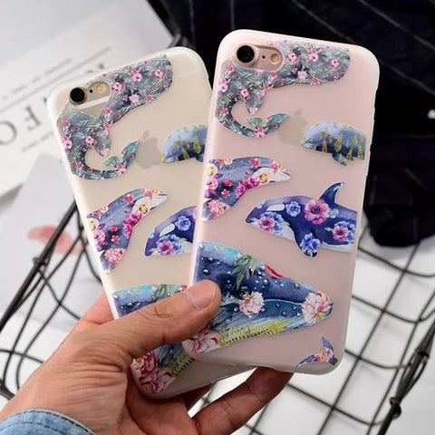 Floral Whales iPhone Case - For iPhone 6/6S/6 Plus/7/7 Plus