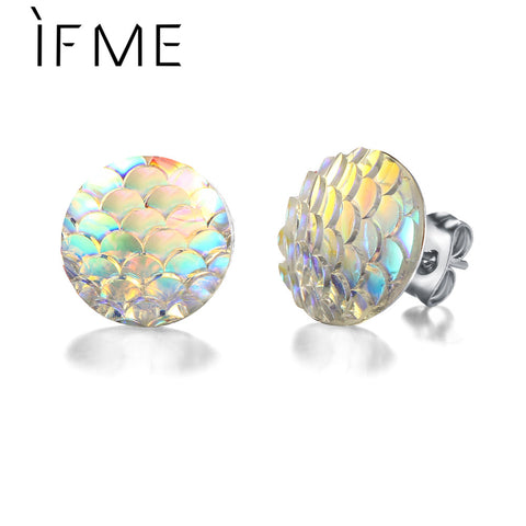 Holographic Mermaid Scale Stud Earrings