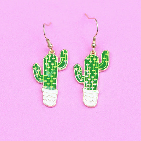 Cacti Cactus Dangle Drop Earrings