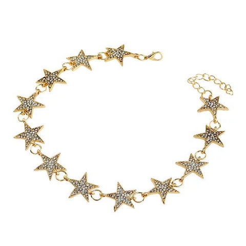 Shooting Stars Gold & Rhinestone Choker Necklace