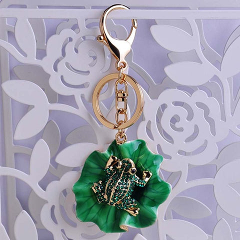 Jeweled Green Frog on Lilly Pad Keychain
