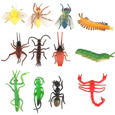 Set of 12 Plastic Replica Insects/Bugs/Crawling Critters