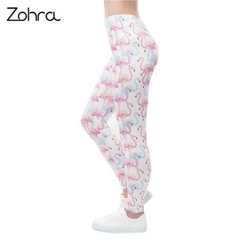 White Flamingo-Print Novelty Tights