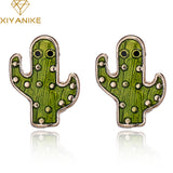 Adorable WAVING CACTI WITH EYES Enamel Nature Stud Earrings