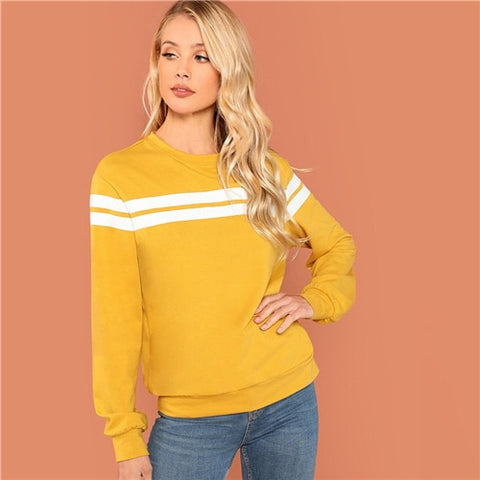 Mustard Striped Tunic Pullover Sweatshirt