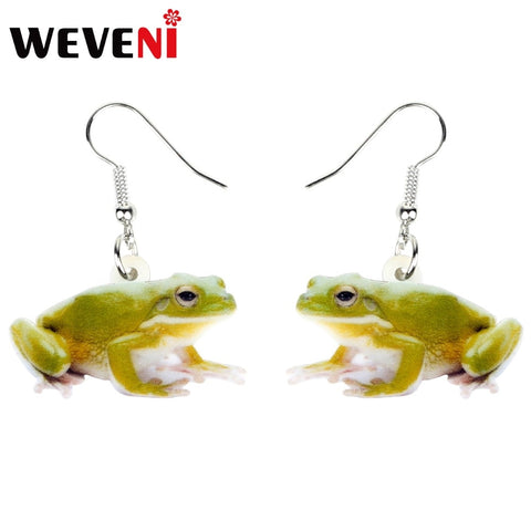 Acrylic Green Frog Earrings - Style 3