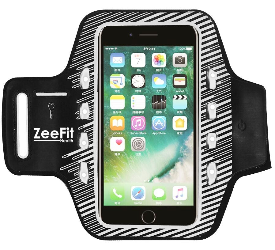 LED Running Armband for iPhone/Samsung (fits all phones up to 6.2 inches) - ZeeFit Health