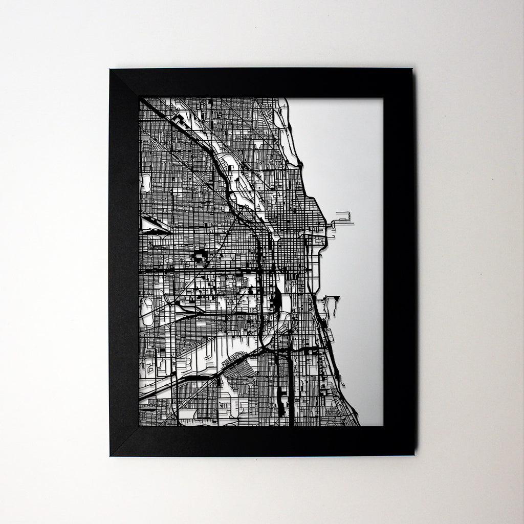 Chicago IL laser cut wall map – CarbonLight on