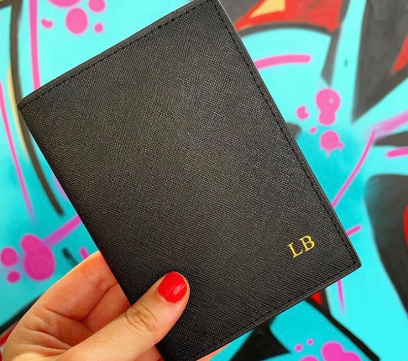 Luxury personalised leather passport cover