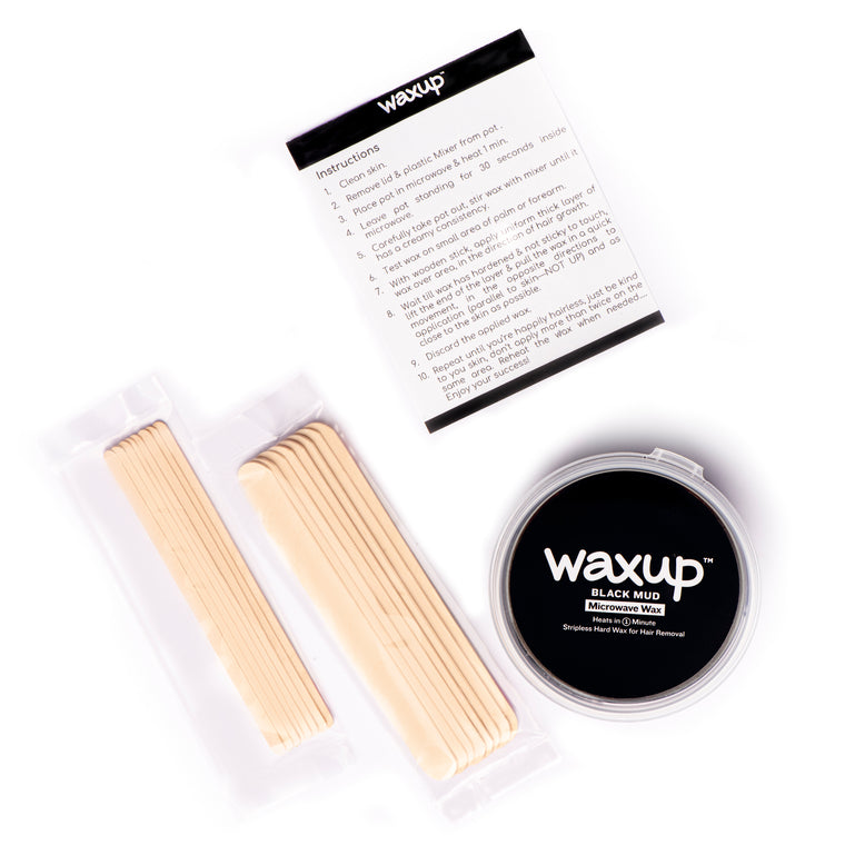 waxup Microwave Hard Wax Kit, Black Mud, 7 Ounces Pot with 8 Large Wax Sticks, Home Waxing, Stripless Microwaveable Hot Hair Removal Wax for Body, Face, Eyebrows, Bikini Line, Nose, Ear, Upper Lip, Legs and Arms. Heats in 1 Minute