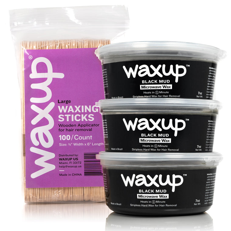 waxup Microwave Hard Wax Kit, Black Mud, 3 Pots of 7 Ounces with 100 Wax Sticks Large