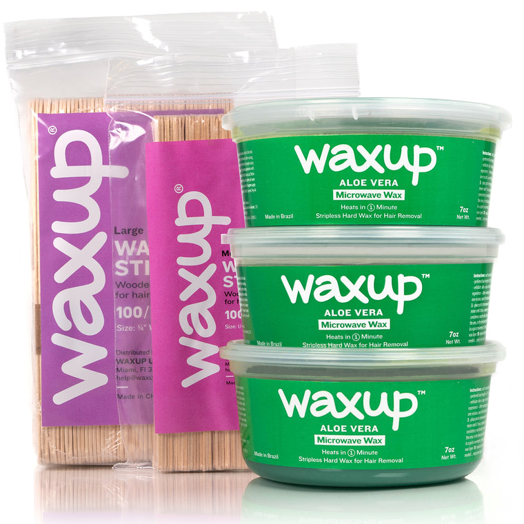 waxup Microwave Hard Wax Kit, Aloe Vera, 3 Pots of 7 Ounces with 8 Wax Sticks Medium and Large