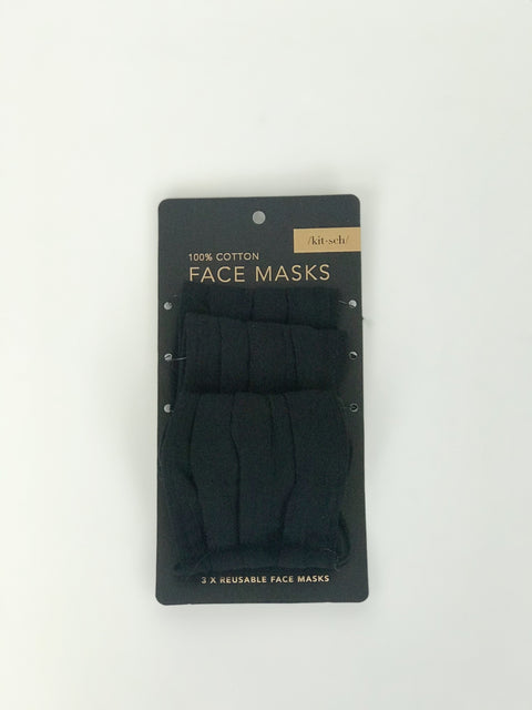 3-pack face mask-black
