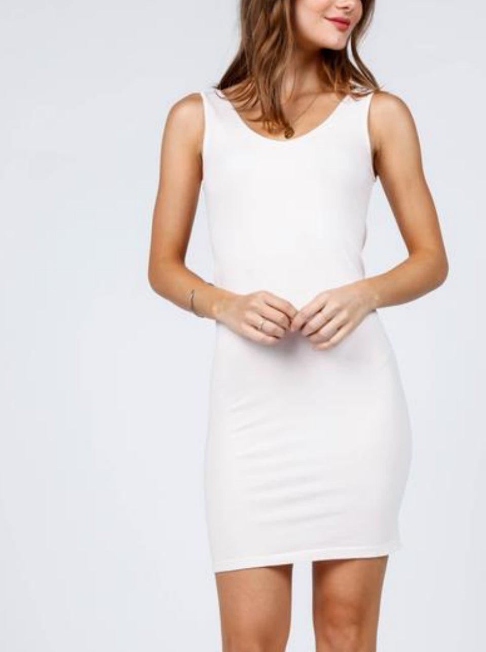 reversible tank dress - white