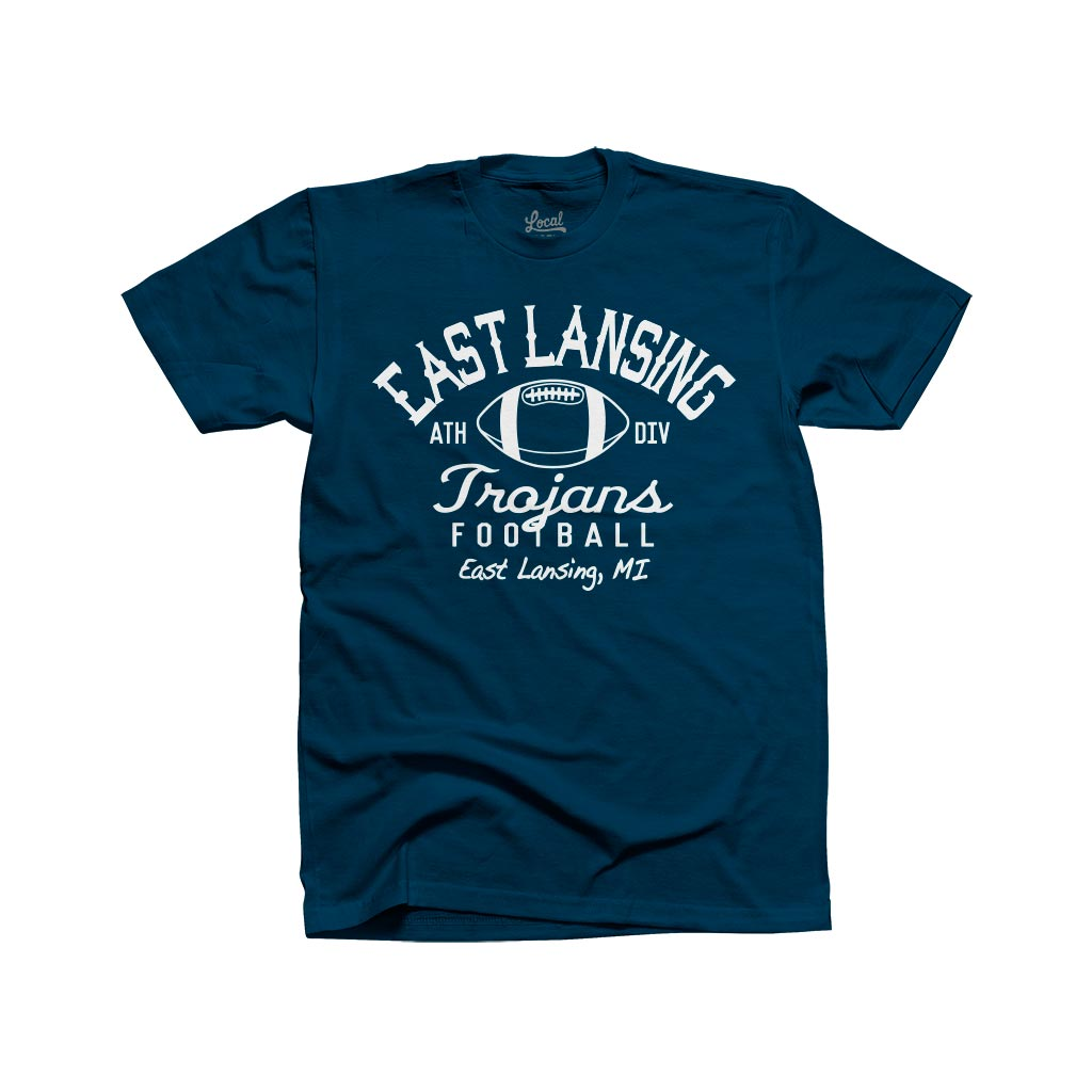East Lansing Retro Football Tee Navy