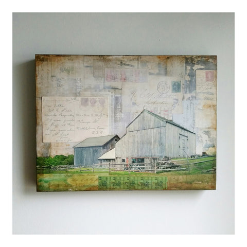 Middletown, CT barn - JC Spock Mixed Media art