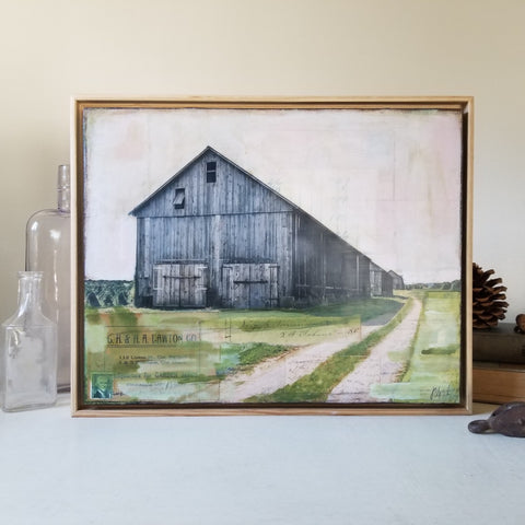 "Sunrise over Barns, 11"" x 14"" (framed)"