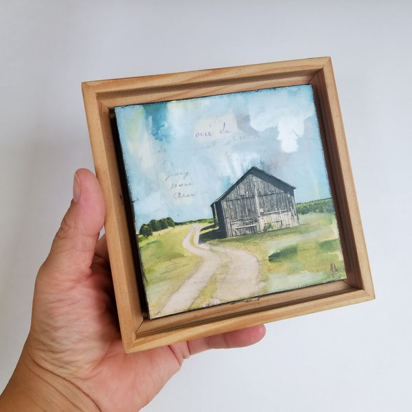 "Around the Bend, 4"" x 4"" (Framed)"