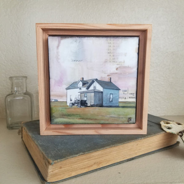 "Arriving Home, 4"" x 4"" (Framed)"