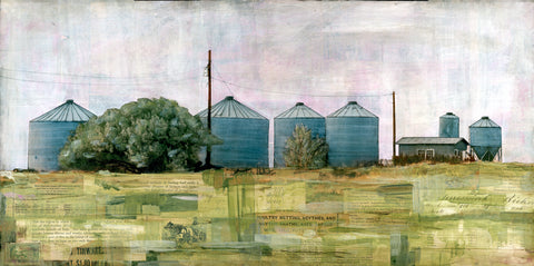 "Grain Bins of July, 12"" x 24"""