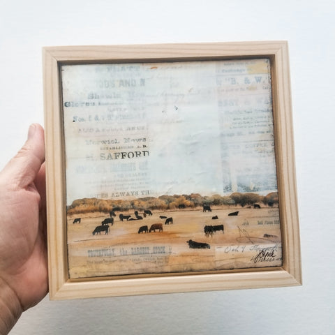 "Grazing II, 6"" x 6"" (Framed)"