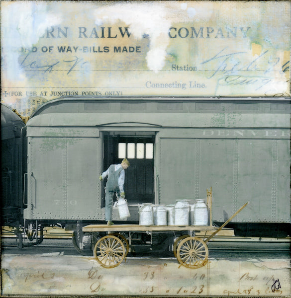 "Loading Milk, 6"" x 6"" (Framed)"