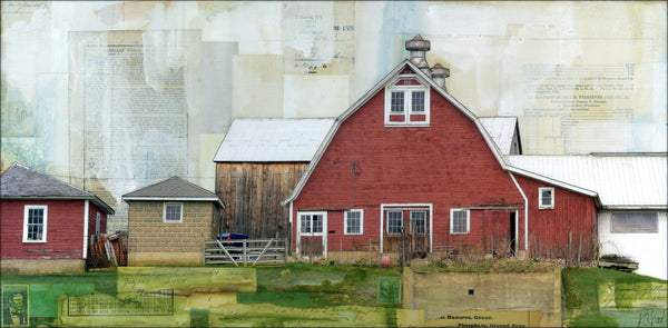 "Red Barn, Red Eggs, 12"" x 24"""