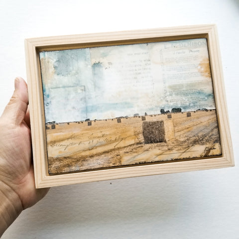 "Stalks & Bales, 5"" x 7"" (Framed)"