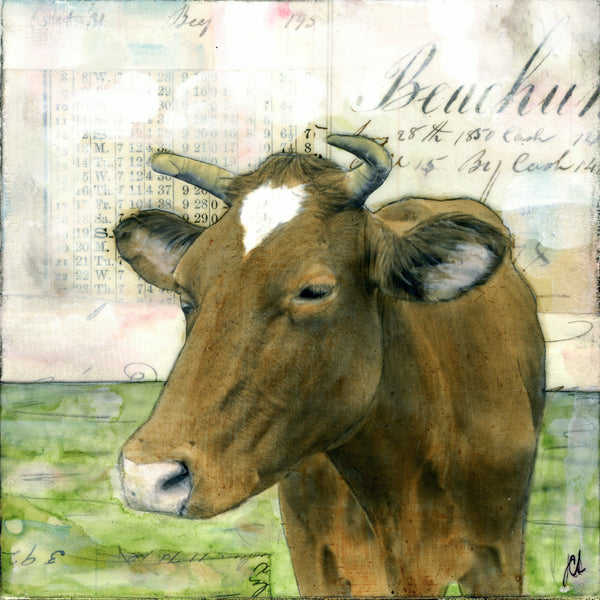"Brown Cow, 6"" x 6"" (Framed)"