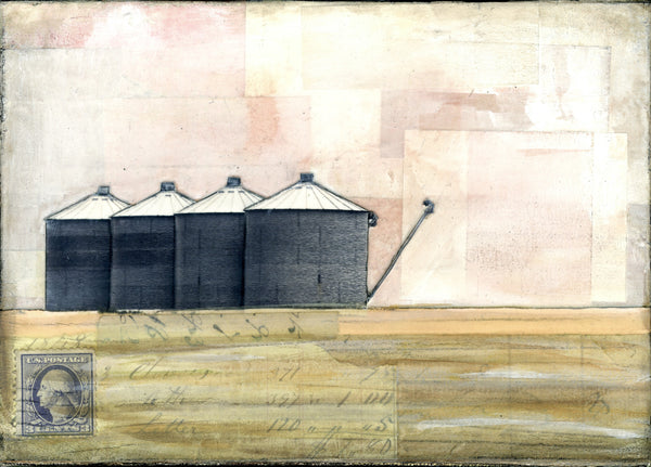"Grain Bins, 5"" x 7"" (Framed)"