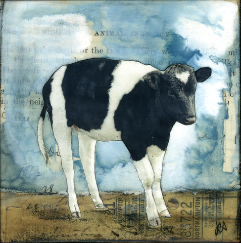 "Sweet Cow, 4"" x 4"" (Framed)"
