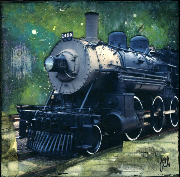 "Midnight Locomotive, 4"" x 4"" - J.C. Spock"