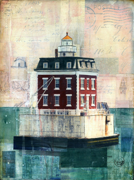 "New London Ledge Light, 12""x16"""
